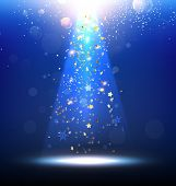 foto of laser beam  - Vector Stage Spotlight with snowflakes and glow stars - JPG