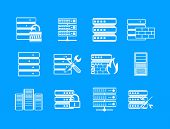 Server Icon Set. Simple Set Of Server Vector Icons For Web Design Isolated On Blue Background poster
