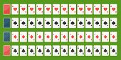 Set Poker Playing Cards, Full Deck. Playing Cards Face And Back Side. Gambling Games Concept. Vector poster