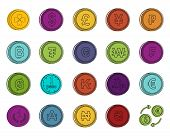 Coin Icon Set. Color Outline Set Of Coin Vector Icons For Web Design Isolated On White Background poster