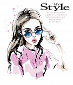 Fashion Woman In Sunglasses. Stylish Beautiful Young Woman. Fashion Look. Sketch. poster