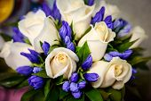 Wedding Bouquet Of White Roses And Blue Violet Fresia Or Hyacinth. Delicate White Gentle Roses And L poster
