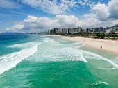 Drone Photo Of Barra Da Tijuca Beach, Rio De Janeiro, Brazil. We Can See The Beach, Some Building, T poster