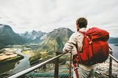 Backpacker Traveling In Norway Enjoying Aerial Mountains Landscape Lifestyle Adventure Vacations Tra poster