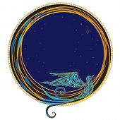 pic of art nouveau  - vector round frame with the stylized bird - JPG
