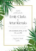 Wedding Floral Invitation, Invite Card With Vector Watercolor Style Tropical Fan Palm Tree Green Lea poster