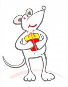 pic of pack-rat  - Happy stylized mouse and gift box on a white background - JPG