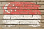 Flag Of Singapore On Grunge Brick Wall Painted With Chalk