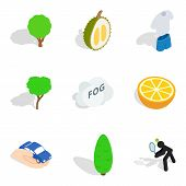 Vitality Food Icons Set. Isometric Set Of 9 Vitality Food Vector Icons For Web Isolated On White Bac poster