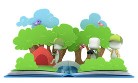stock photo of pop up book  - 3D Illustration of Kids Camping on Popup Book - JPG