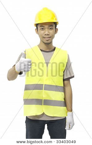 Male Worker Give Ok Sign