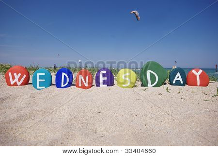 Wednesday, third day of the week on colourful stones