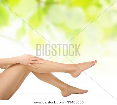 Legs Being Massaged With Hands