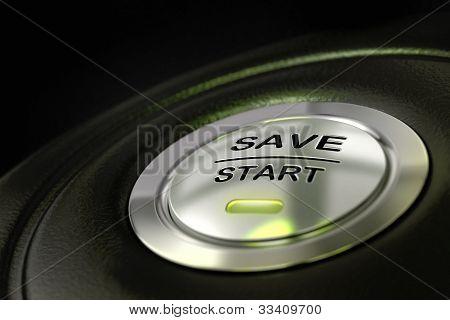 save start button, saving money concept