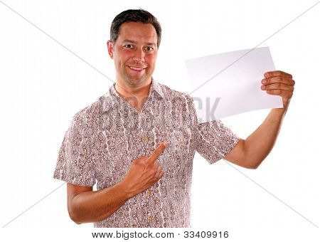Man And Blank Piece Of Paper