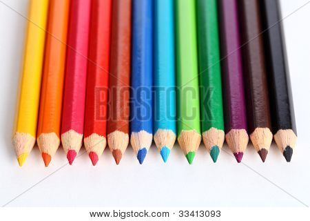 Colour pencils on white background