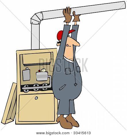Man Installing A Furnace