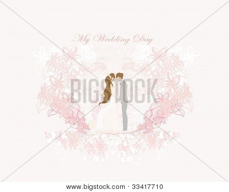 elegant wedding invitation and wedding couple , vector illustration