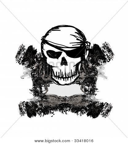 Caveira pirata - cartão retro do grunge, ilustração vetorial