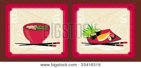 template of sushi menu set
