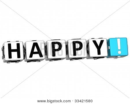 3D Happy Button Click Here Block Text