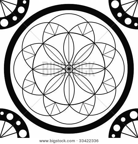 Círculo sagrado de dibujo geométrico Mandala Fotos stock e ...