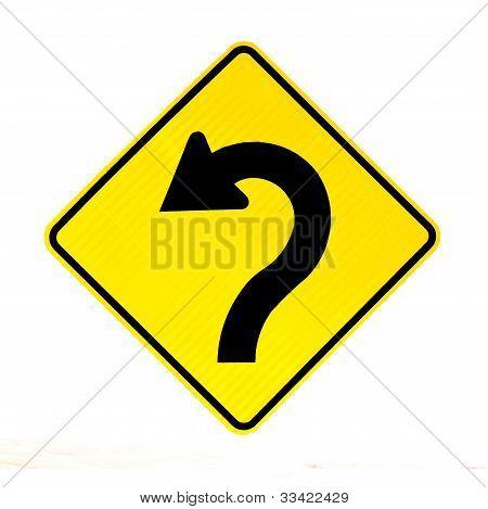 Arrow on roadsign pointing left for betterment