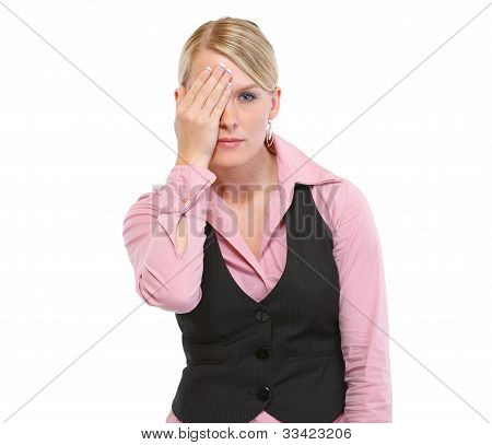 Woman Closed One Eye With Hand