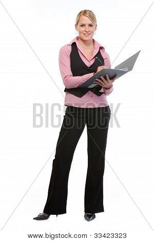 Full Length Portrait Of Employee Woman Writing In Folder