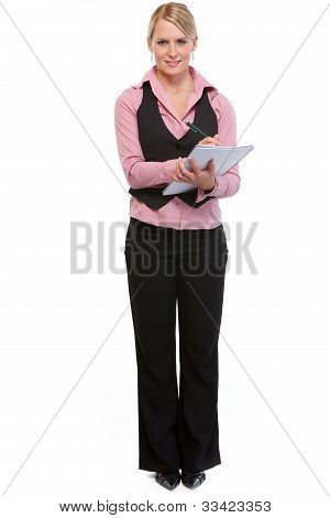 Woman Employee Writing In Notepad
