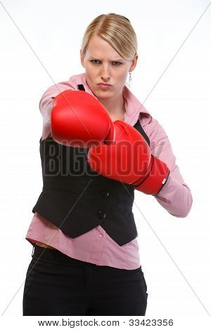Anger Woman Employee In Boxing Gloves Punching