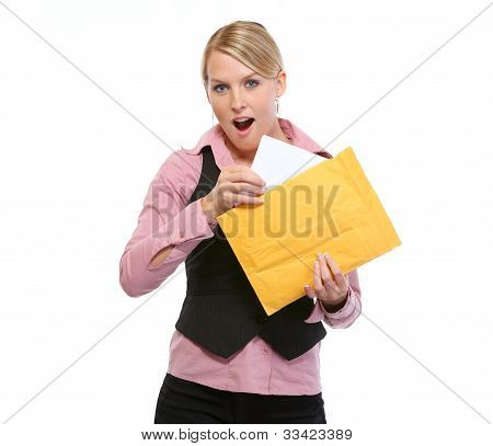 Surprised Woman Opening Letter