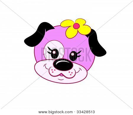 Pink Puppy Dog with Flower