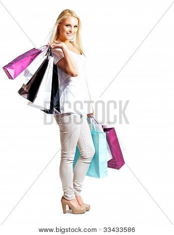 Young Happy Woman Shopping