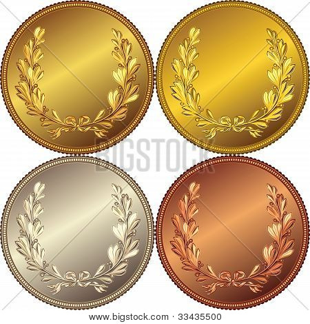 Set Of The Gold, Silver And Bronze Coins With The Image Of A Laurel Wreath