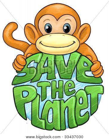 Monkey Save the Planet Cartoon