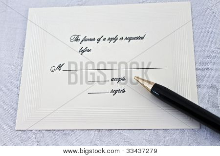 Accept Or Regret Reply To A Party Or Wedding