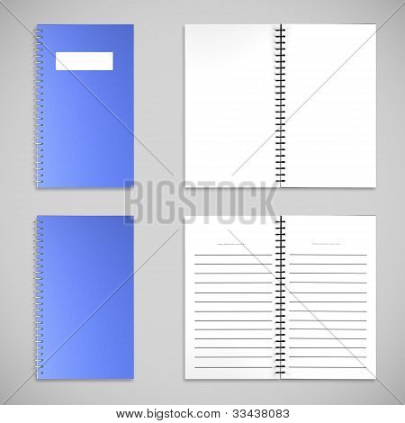 Blue Satin Color Cover Note Book And Blank Paper