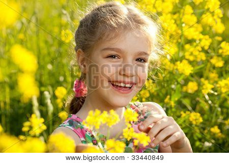 Cheerful Girl In A Light Dress