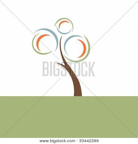Retro Tree Illustration
