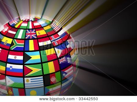 Globe with world flags
