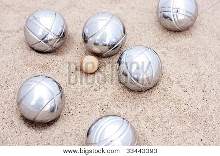 Game Of Jeu De Boule, Silver Metal Balls In Sand