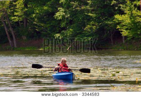 Senior Female Kayaking
