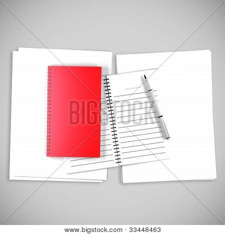 Blank Red Organize Book For Write