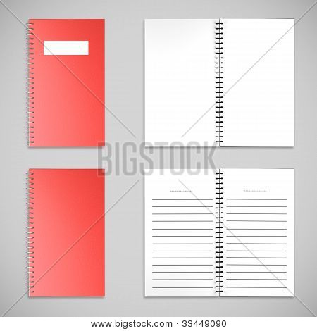 Red Satin Color Cover Note Book And Blank Paper