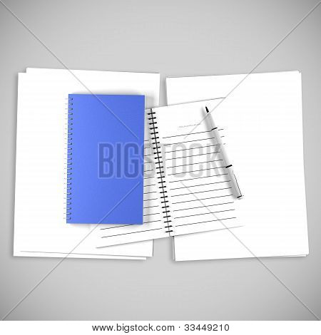 Blank Blue Organize Book For Write