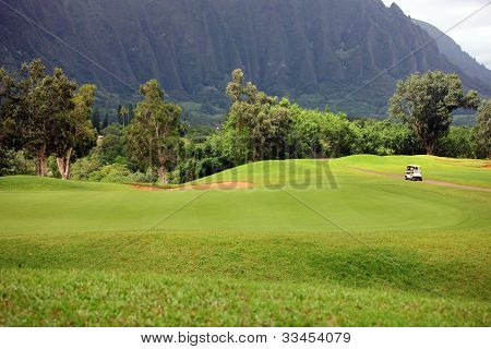 Golf At Base Of Mountain, Hawaii