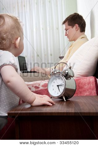 Father Ignoring His Little Daughter