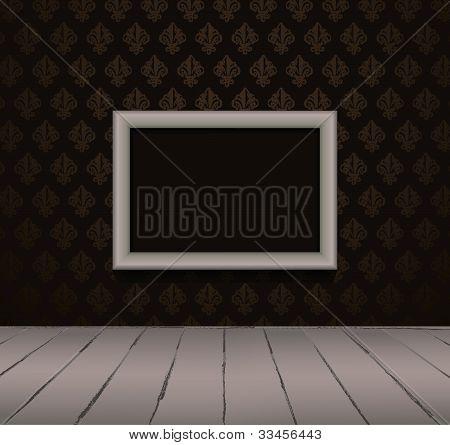 Vintage black interior with frame
