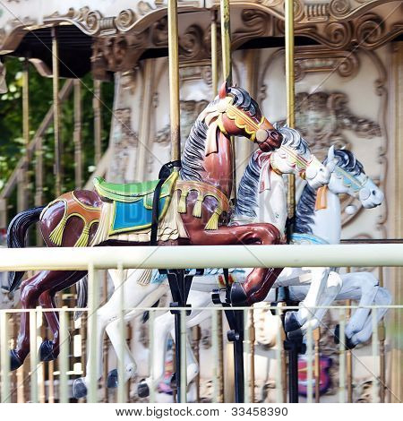Old Carousel With Horses